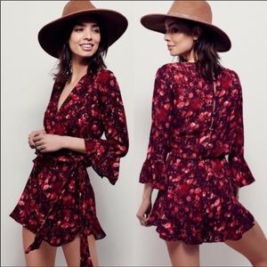 Free People Red/Pink Floral Romper Size M